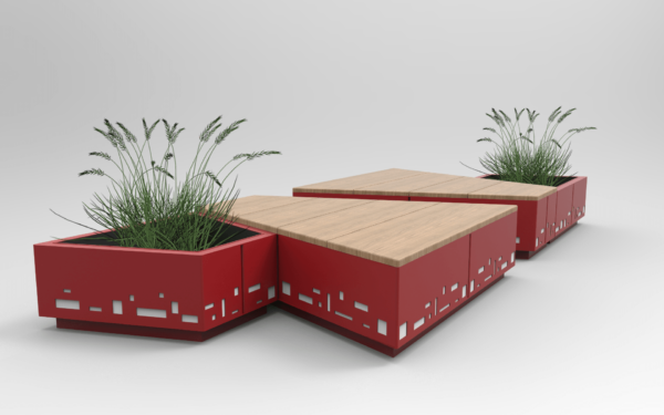 fioriera rossa con panchina